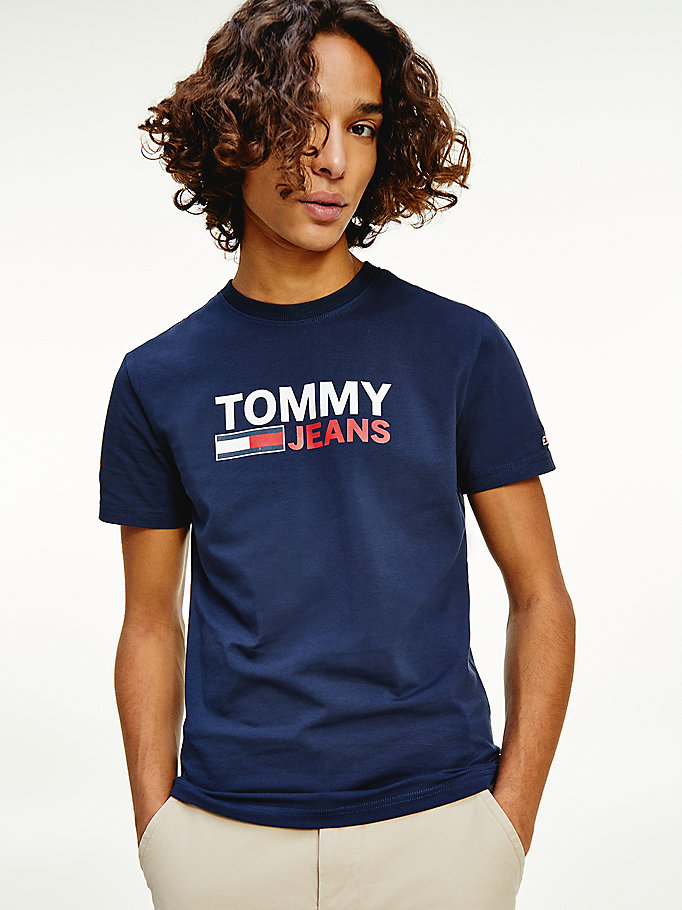t-shirt in jersey di cotone biologico stretch blu da men tommy jeans