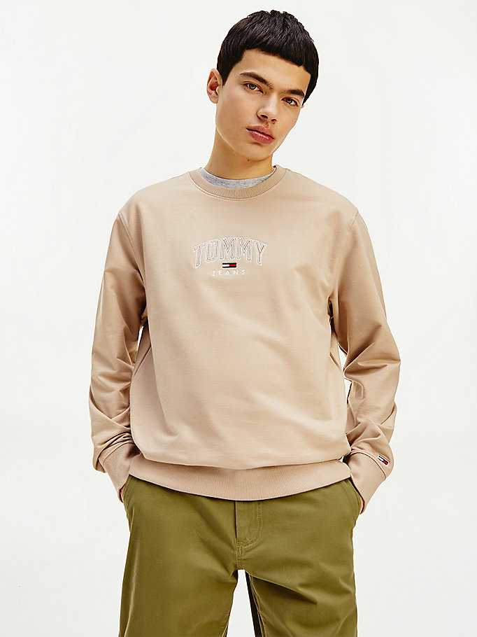 beige lightweight crew neck sweatshirt for men tommy jeans