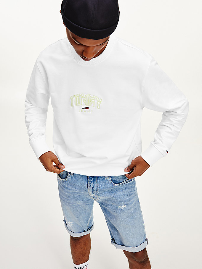 white lightweight crew neck sweatshirt for men tommy jeans