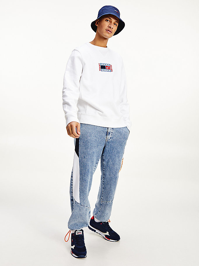 white timeless crew neck sweatshirt for men tommy jeans