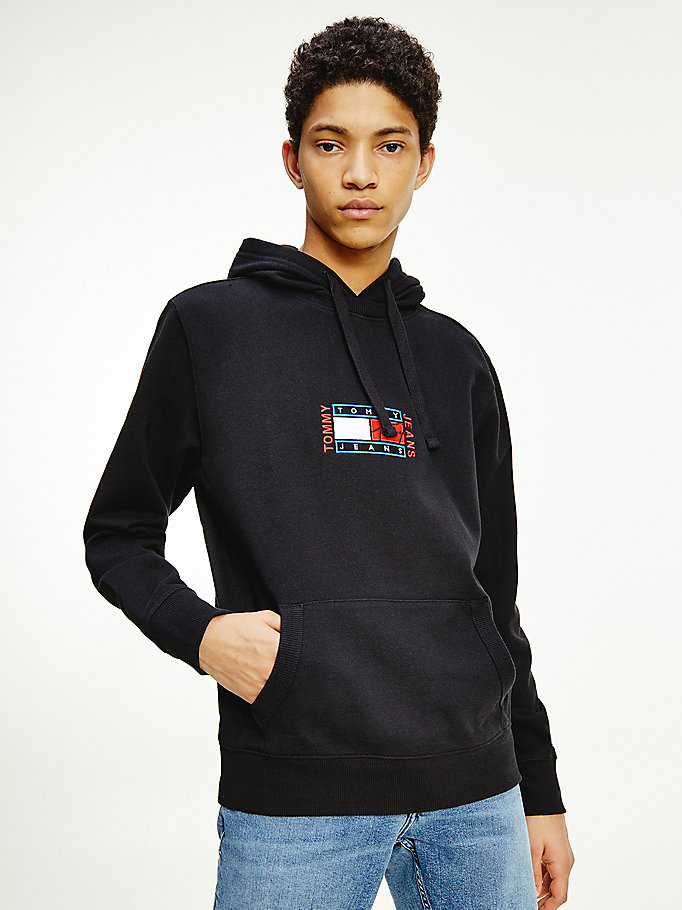 black organic cotton terry hoody for men tommy jeans