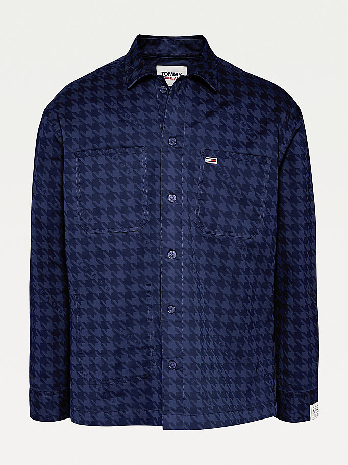 blue houndstooth print overshirt for men tommy jeans
