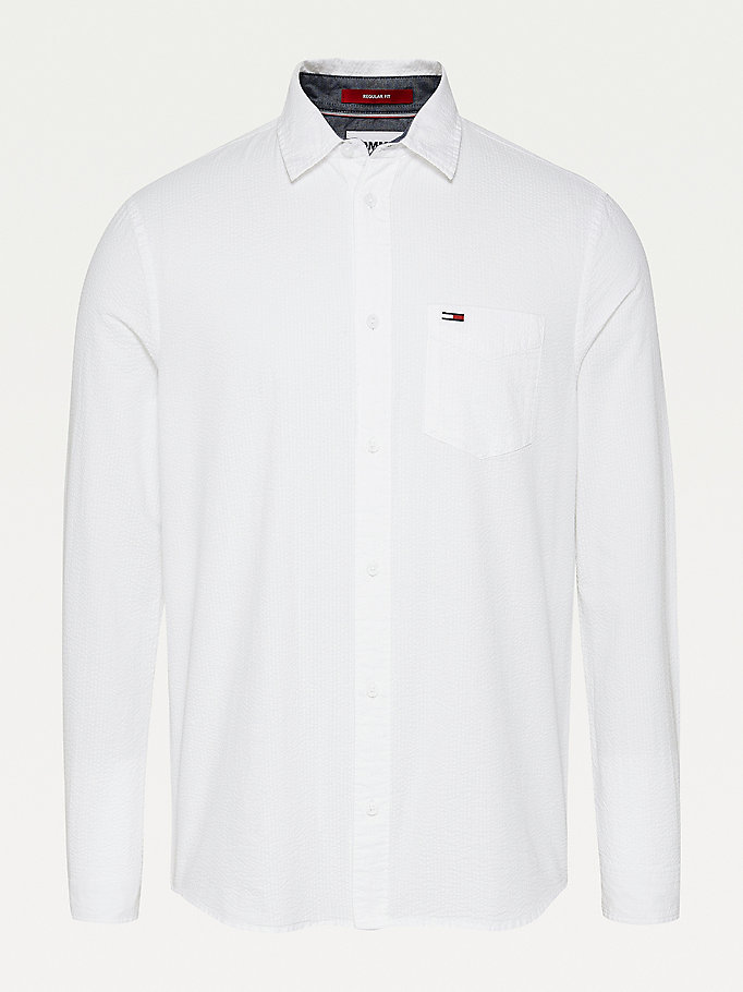 white solid seersucker organic cotton shirt for men tommy jeans