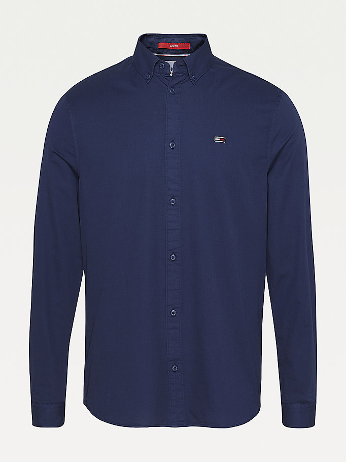 blue lightweight organic cotton twill shirt for men tommy jeans
