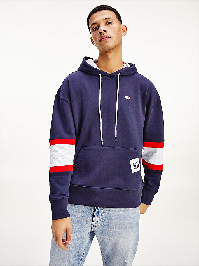 blue rugby stripe contrast lining hoody for men tommy jeans