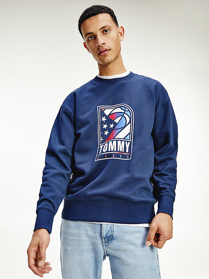 blue basketball logo relaxed sweatshirt for men tommy jeans