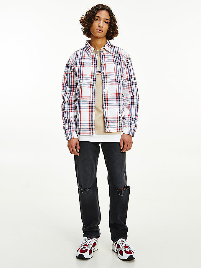 beige reversible checked badge jacket for men tommy jeans
