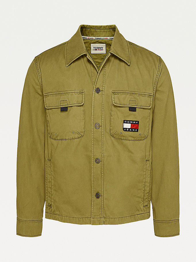 green logo embroidery organic cotton overshirt for men tommy jeans