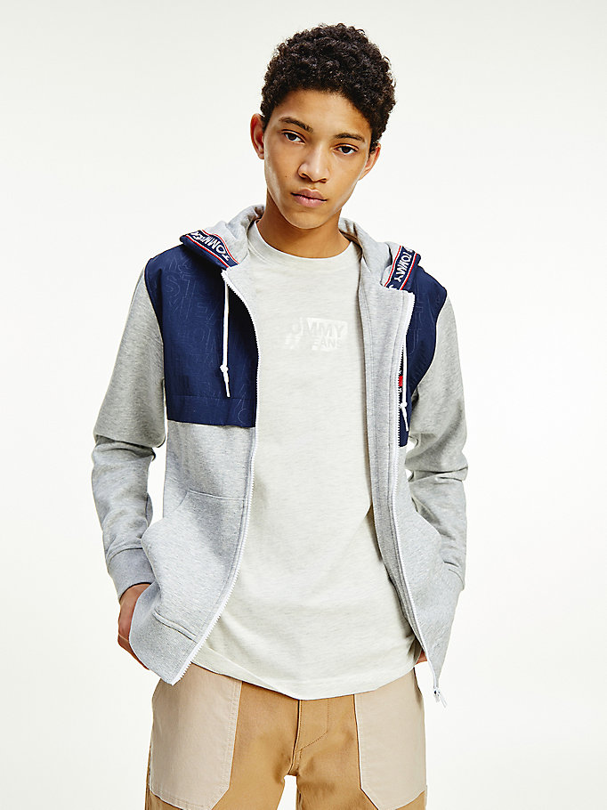 grey contrast zip-thru hoody for men tommy jeans