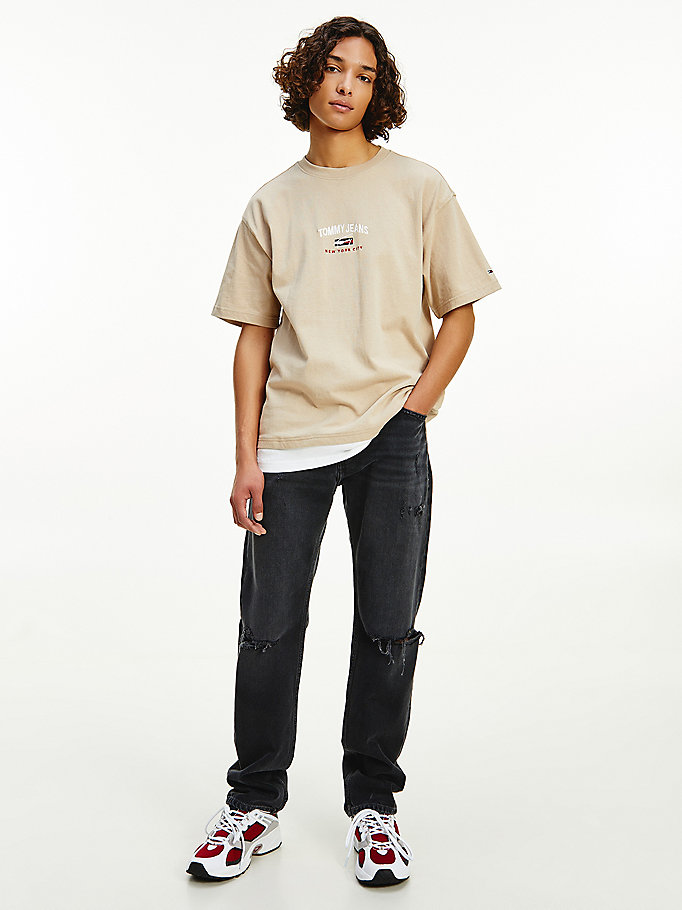 t-shirt oversize in cotone biologico beige da uomo tommy jeans