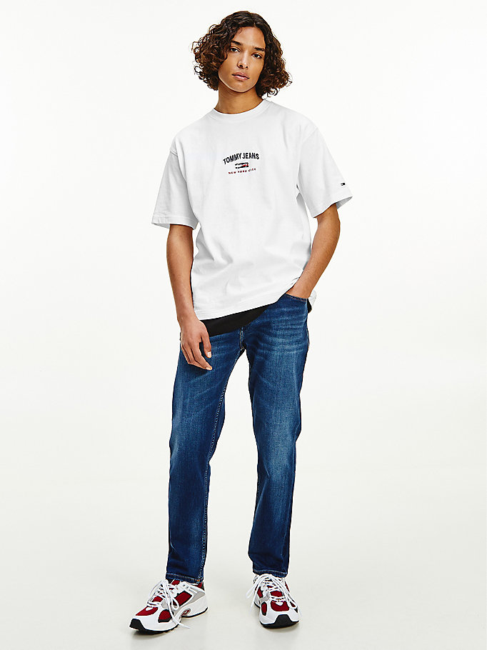 white organic cotton oversized t-shirt for men tommy jeans