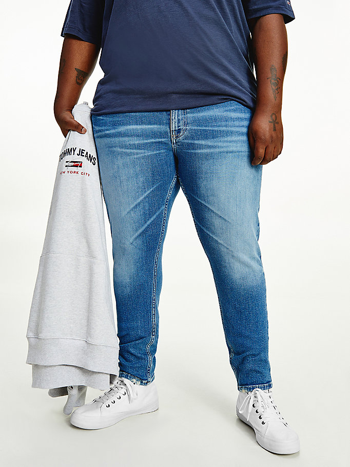 denim plus skinny faded jeans voor heren - tommy jeans