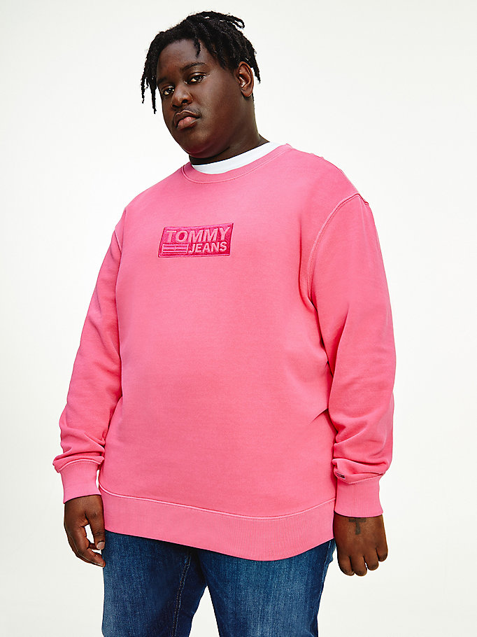 pink plus tonal logo sweatshirt for men tommy jeans
