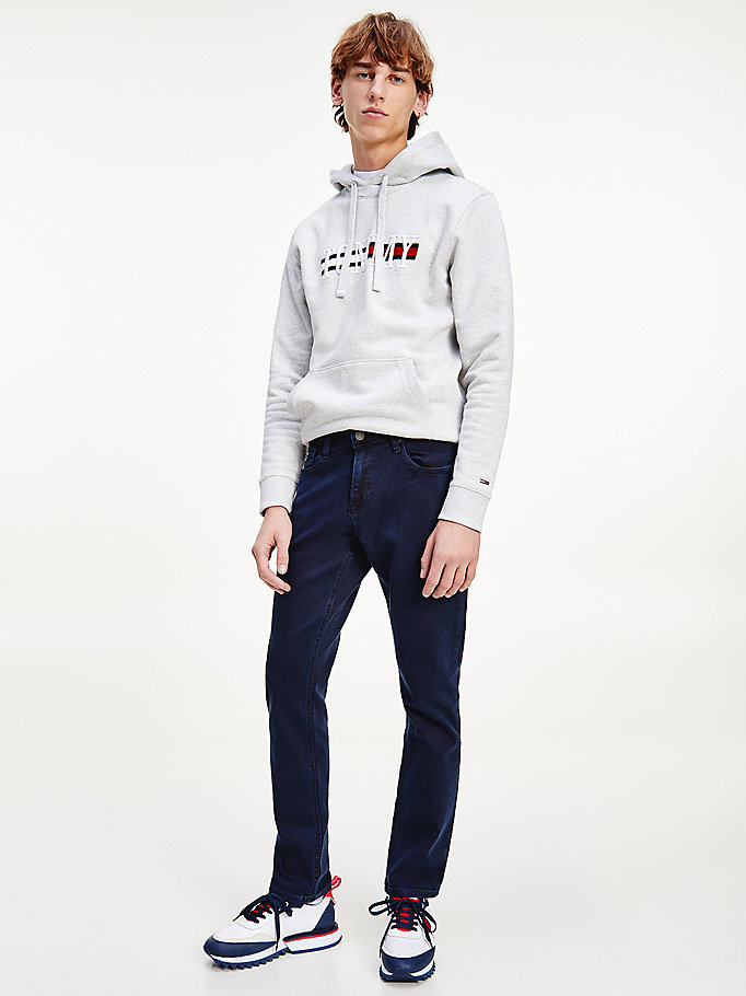 grey crew neck textured hoody for men tommy jeans