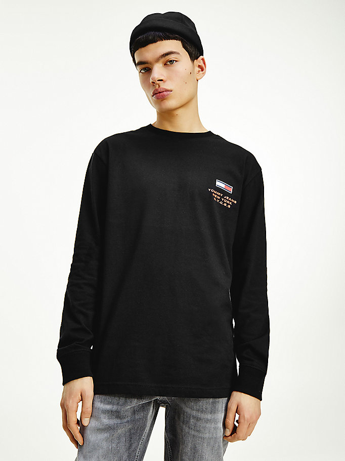 black new york logo long sleeve t-shirt for men tommy jeans