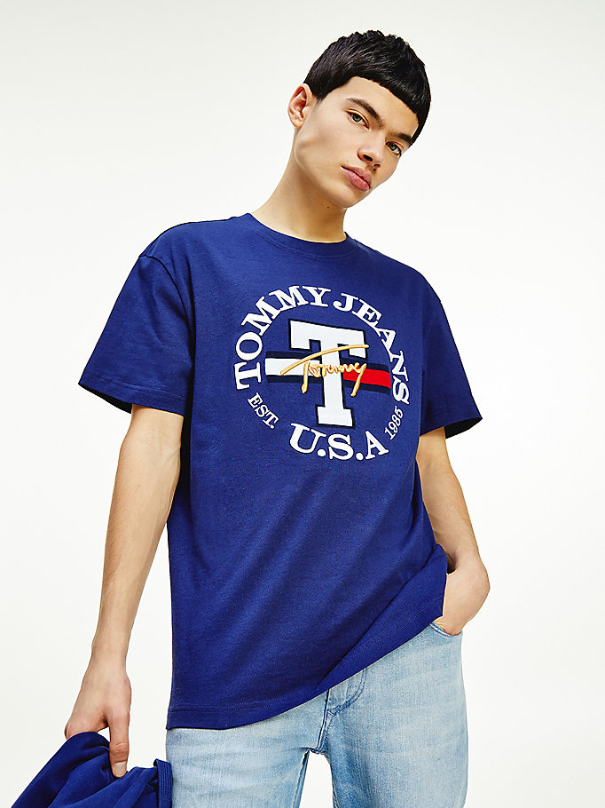purple logo embroidery t-shirt for men tommy jeans