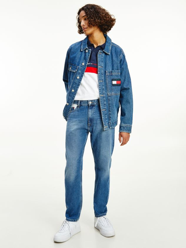 Dad Straight Colour-Blocked Jeans