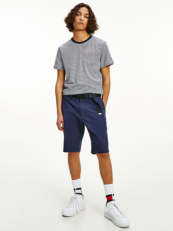 blue belted straight fit shorts for men tommy jeans