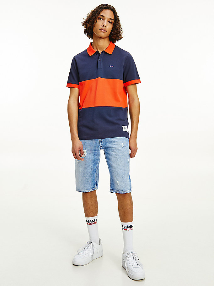 blue organic cotton colour-blocked polo for men tommy jeans