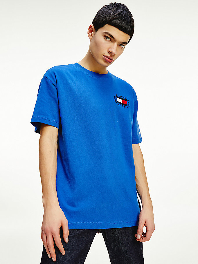 blue back graphic organic cotton t-shirt for men tommy jeans