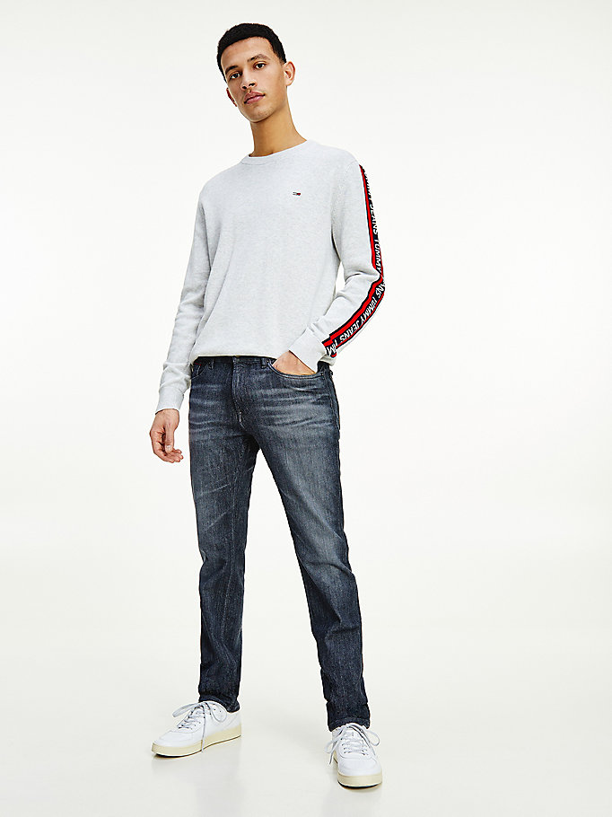 denim scanton slim faded grey jeans for men tommy jeans