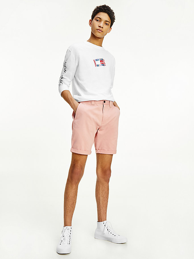 roze scanton regular chino-short voor heren - tommy jeans