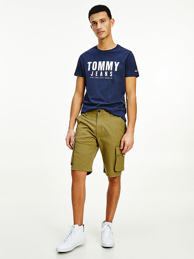 green washed cargo shorts for men tommy jeans