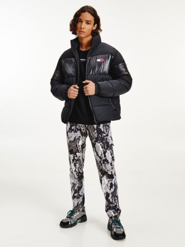Color Block-Puffer-Jacke mit Tommy-Badge