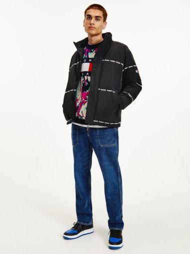 Puffer-Jacke mit Logo-Streifen
