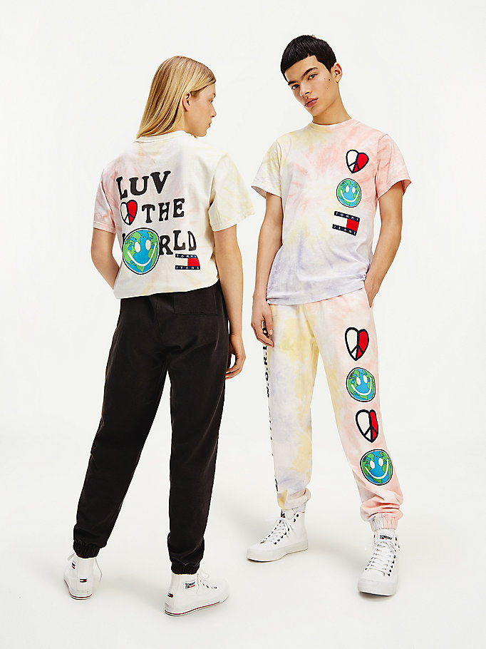 t-shirt luv the world tie and die rose pour hommes tommy jeans