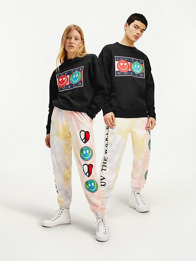 zwart luv the world sweatshirt met logo voor heren - tommy jeans