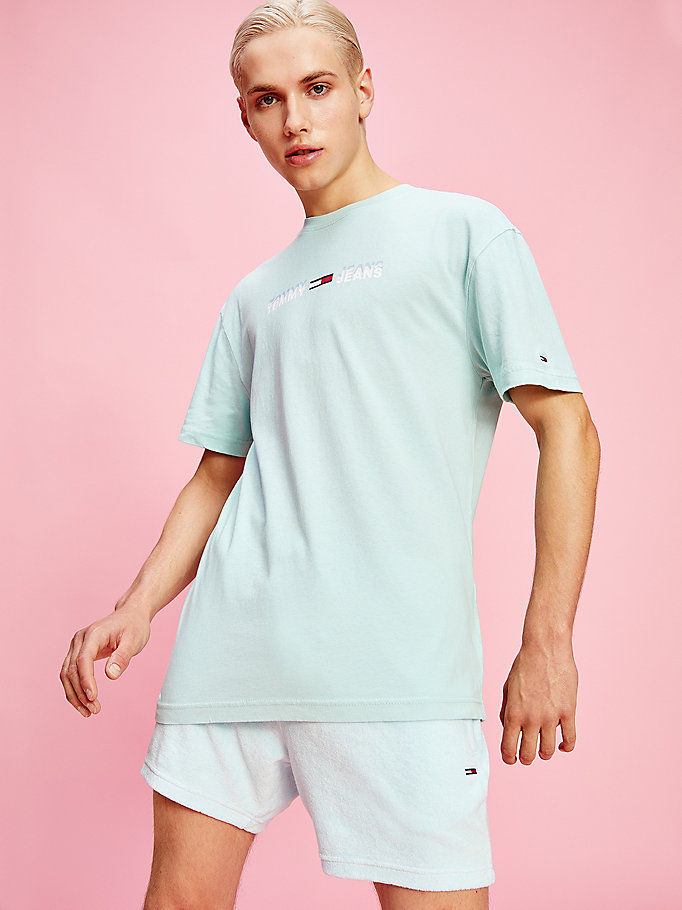 blue pastel linear logo t-shirt for men tommy jeans