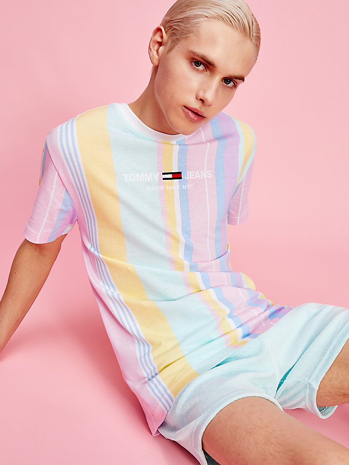 pink pastel mixed vertical stripe t-shirt for men tommy jeans