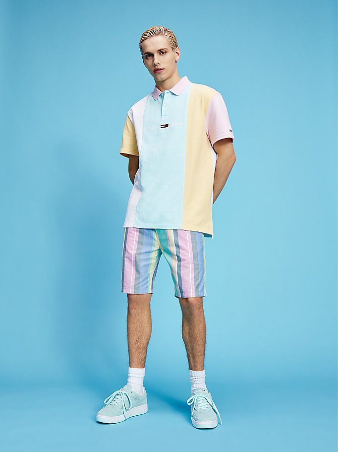 polo pastel color block in cotone biologico blu da men tommy jeans