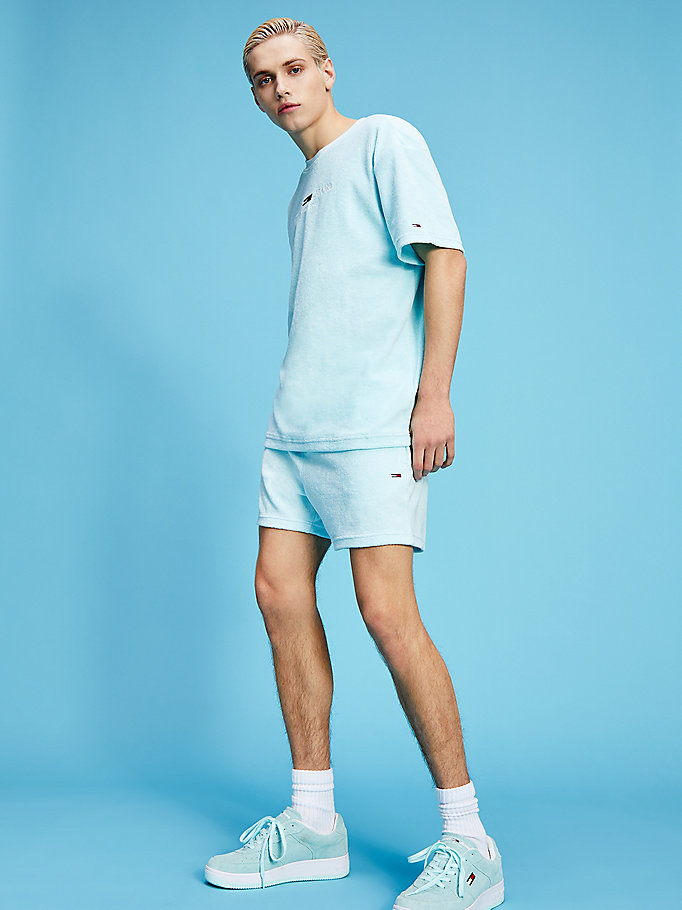 blue pastel towelling shorts for men tommy jeans
