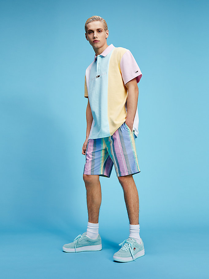 pink pastel organic cotton stripe shorts for men tommy jeans