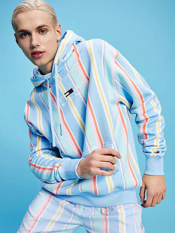 blue pastel organic cotton stripe hoody for men tommy jeans