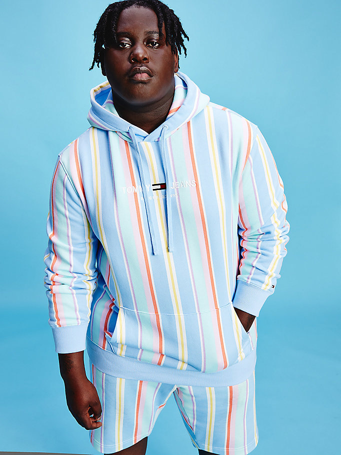 blue plus pastel organic cotton stripe hoody for men tommy jeans