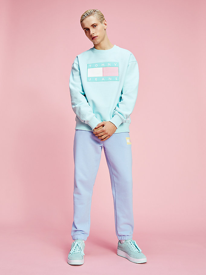 blue pastel flag badge sweatshirt for men tommy jeans