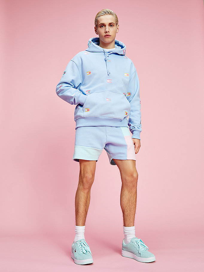 blue pastel all-over badge print hoody for men tommy jeans
