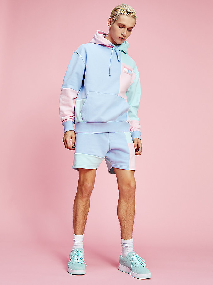 blue pastel colour-blocked hoody for men tommy jeans