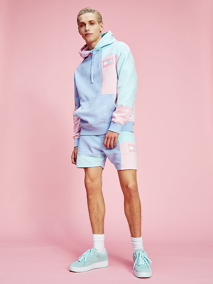 shorts pastel color block blu da uomo tommy jeans