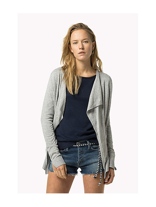 TOMMY JEANS Combed Cotton Cardigan - MID GREY HEATHER - TOMMY JEANS Women - main image