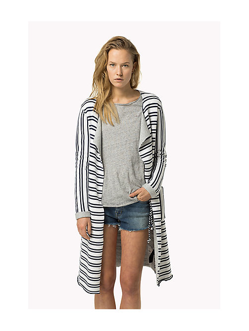 TOMMY JEANS Cotton Stripe Cardigan - BRIGHT WHITE / DRESS BLUES - TOMMY JEANS Women - main image