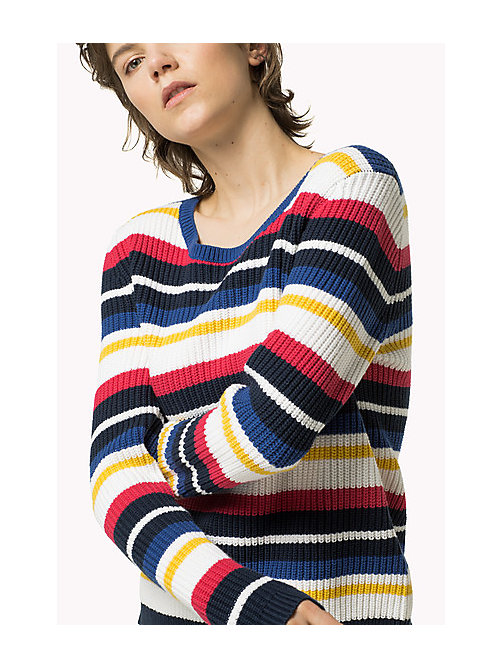 TOMMY JEANS Cotton Multi Stripe Jumper - BRIGHT WHITE / MULTI - TOMMY JEANS Women - main image