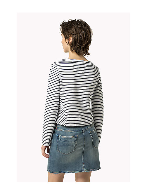 TOMMY JEANS Textured Stripe Top - BRIGHT WHITE / DRESS BLUES - TOMMY JEANS Women - detail image 1