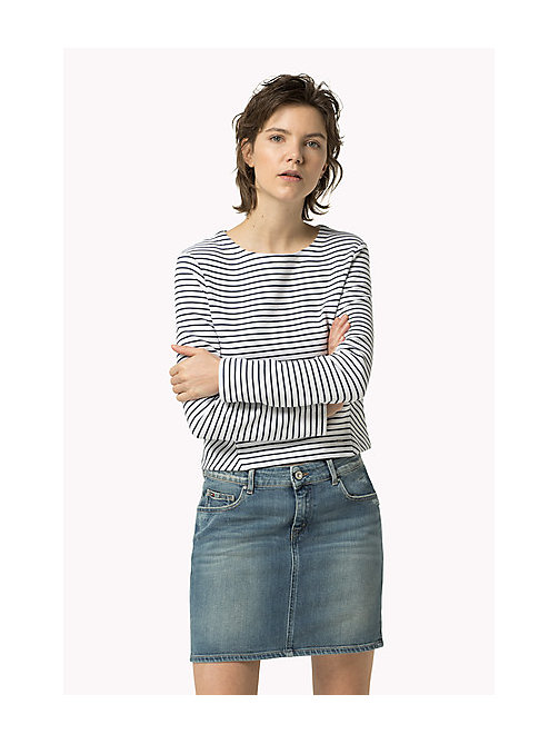 TOMMY JEANS Textured Stripe Top - BRIGHT WHITE / DRESS BLUES - TOMMY JEANS Women - main image