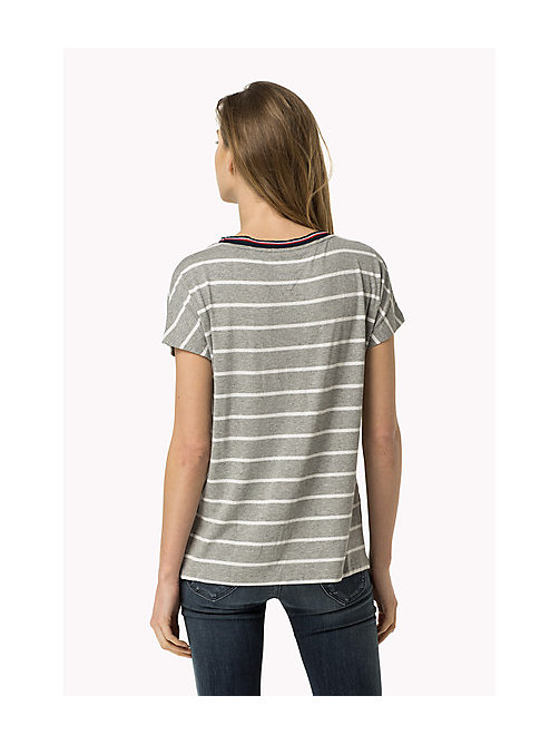TOMMY JEANS Striped T-Shirt - MID GREY HEATHER / BRIGHT WHITE - TOMMY JEANS Women - detail image 1