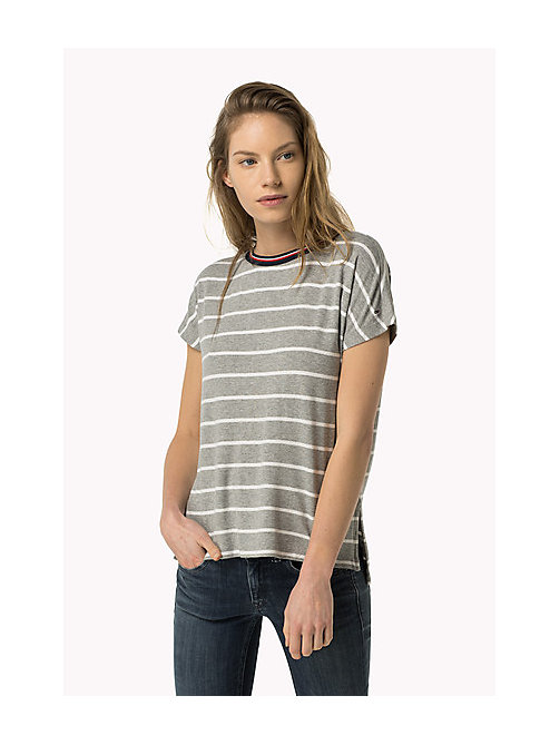 TOMMY JEANS Striped T-Shirt - MID GREY HEATHER / BRIGHT WHITE - TOMMY JEANS Women - main image