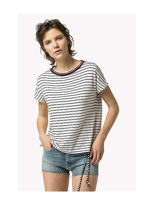 TOMMY JEANS Gestreept T-shirt - BRIGHT WHITE / DRESS BLUES - TOMMY JEANS Kleding - main image